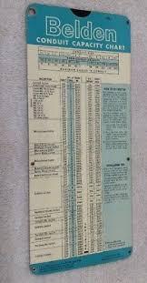 Conduit Capacity Chart 1964 Belden Conduit Capacity Slide Chart Nice Condition