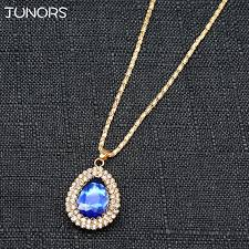 whole gorgeous blue crystal gem water drop pendant necklace for women gold chain charms royal gem necklace jewelry for office workers single diamond