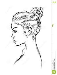 Beautiful Black Woman Line Art Illustration Stock Vector