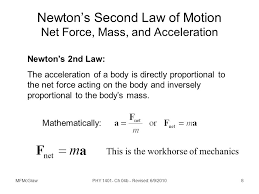 newton s second law of motion net force mass and acceleration