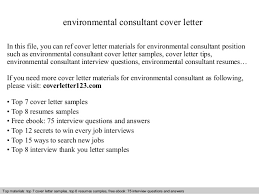It Consultant Cover Letters Environmental Consultant Cover Letter