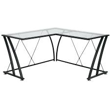 desk white l shaped desk glass top glass l shape computer desk with black frame