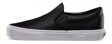 vans classic slip ons perf leather black shoes womens vans trainers w68t1949