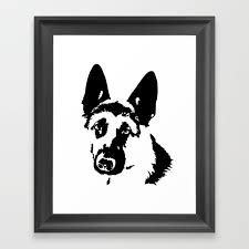 german shepherd dog gifts framed art print