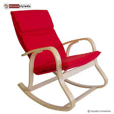 rocking chair relax chair wooden chair in nature and red