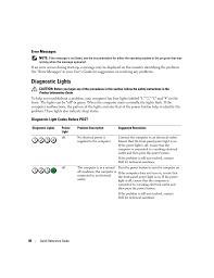 Dell Precision Light Codes Error Messages Diagnostic Lights Diagnostic Light Codes