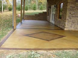 patio concrete paint with brown and light painted