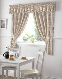 ... Kitchen, Kitchen Curtains Modern Kitchen Curtains White And Brown Plaid  Patterned Curtains Valances And Cushion ...