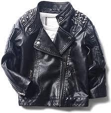 LJYH Boy's <b>Stand Collar</b> Rivet Faux <b>Motorcycle Leather</b> Jacket