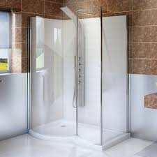 6mm 1400 x 900 curved left hand walk in enclosure with shower tray