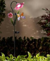 solar powered flower garden stakes light yard lawn decor patio stained glass erfly