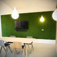 green wall with artificial grass