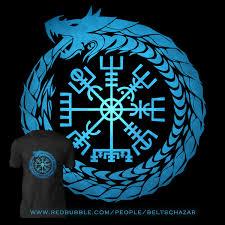 Vegvisir Jormungandr World Serpent Slim Fit T Shirt Viking