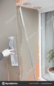 Bauunternehmer Verputzen Wand Fensterecke Mit Glasfaser Netz Netz