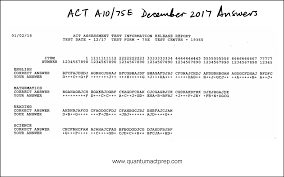 Answer Test Act Released Tests Quantum Act Prep