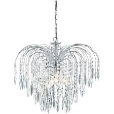 searchlight lighting 4175 5 waterfall crystal chandelier in chrome