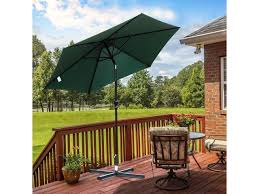 9ft patio umbrella round market umbrella 6 ribs tilt canopy backyard w crank