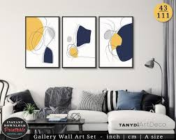 mustard yellow navy blue grey set of 3
