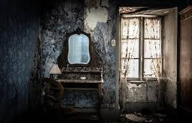 room mirror old interior ruin