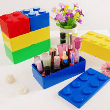 1pc building block plastic saving space storage box superimposed desktop handy office house keeping stationery useful cheap office storage