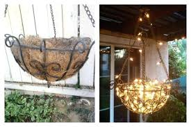 diy outdoor chandelier outdoor chandelier made from a hanging planter fishing line throughout comfortable outdoor chandelier