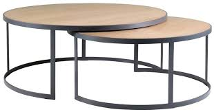 nested coffee table block chisel round weathered oak nested coffee table with matt black 3 piece