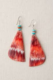 santo domingo spiny oyster turquoise dangle earrings