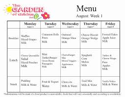 Daycare Organizational Chart Daycare Monthly Menu Template New Weekly Menu Template For
