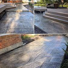 Stamped concrete patio with stairs California Weave Stamped Stamped Cement Patio And Steps 3d Concrete Design Residential Stamped Concrete Patios Walks Steps Photo Gallery