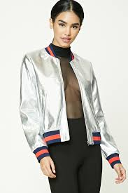 silver er jackets forever 21 metallic faux leather er