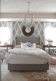 Small Picture Grey Master Bedroom dark accent wall fun patterned curtains