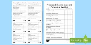 Features Of Reading Aloud And Performance Checklist Reading Aloud