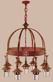 arts crafts stickley heart hanging 9 light chandelier 409 nac ch