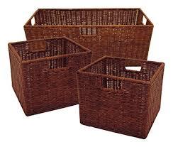 Winsome Wood Leo Storage Baskets, Set of 3, Walnut