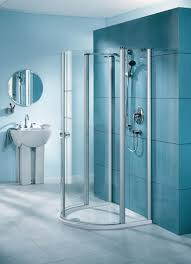 small bathroom shower. Splendid Image Of Bathroom Decoration Using Stand Up Shower Ideas : Good Modern Blue Design Small