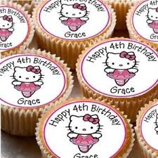 24 Personalised Hello Kitty Cup Cake Fairy Cake Toppers U Choose