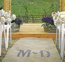 burlap wedding aisle runner with vineyard monogram