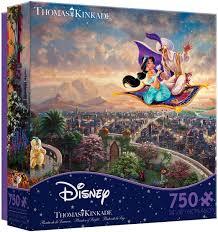Thomas kinkade disney mickey and minnie in hollywood 18 x 24 s/n le paper. Amazon Com Ceaco Thomas Kinkade The Disney Collection Aladdin Jigsaw Puzzle 750 Pieces Toys Games