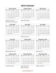 Blank Calendar 2019 Free Download Calendar Templates