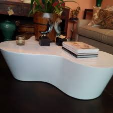 organic shaped white lacquer coffee table  mecox gardens