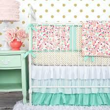 decoration pink chevron nursery bedding peach and mint mini fl baby light grey