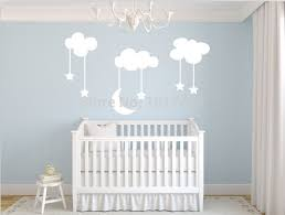 Moon Stars Baby Nursery Vinyl Wall Stickers,Large 220*140cm White Sky blue  MOON CLOUDS nursery room decor decals,free shipping-in Wall Stickers from  Home ...