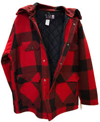 men s johnson wool checd red hunting coat