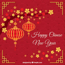 Red Greeting With Chinese New Year Lanterns Vector Free Download