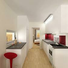 apartment kitchen ideas. Futuristic Long Apartment Kitchen With White Decoration And Unique Red Chairs Ideas A