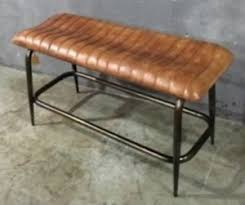 genuine leather bench seat vintage industrial style20