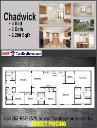 chadwick home 4 bed 3 bath plan 2280 sf d from clayton homes modular plan designs list 131 956 direct 109 955 save 22 001