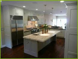 White Kitchen Cabinets with Gray island Lovely Dark Wood Floors Grey