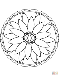 Simple Flower Coloring Pages For Adults With Simple Mandala With