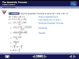 3 use the quadratic formula to solve